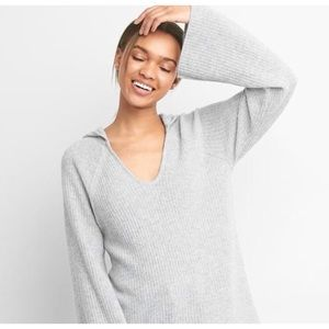 Gap Gray Pullover Ribbed Hoodie Sweater
